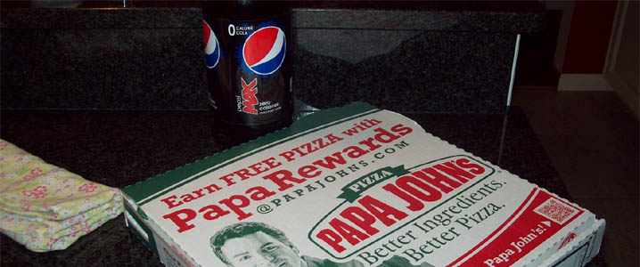 Did you know the internet has a public domain photo of a Pepsi Max two liter next to Papa John's pizza? Seriously, what are the odds?!